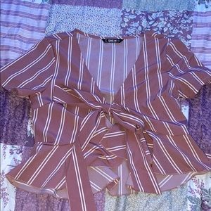 pink and white front tie blouse